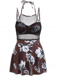Mesh Insert Skirted Floral Swimsuit