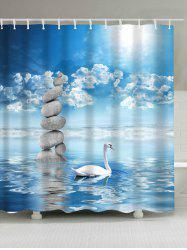 Extra Long Swan in the Lake Print Waterproof Shower Curtain