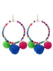 Circle Fuzz Ball Beaded Hook Earrings