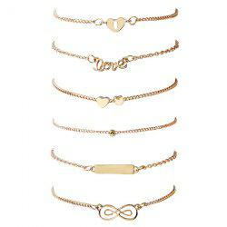 Love Heart Bar Infinite Bead Bracelet Set - GOLDEN