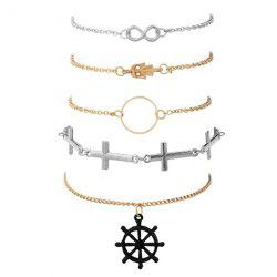 Crucifix Infinite Circle Hand Rudder Bracelet Set