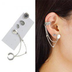 Vintage Ear Cuff and Teardrop Stud Earring Set - SILVER
