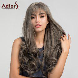 Adiors Long Neat Bang Shaggy Layered Wavy Synthetic Wig - GRAY