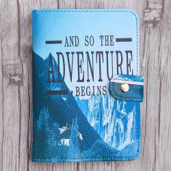 PU Leather Print Passport Holder - BLUE
