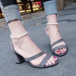 Beading Block Heel Chains Sandals