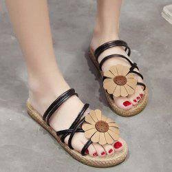 Cross Strap Flower Flat Heel Slippers - BLACK