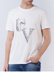 Short Sleeve Abstract Figure Graphic Print T-shirt