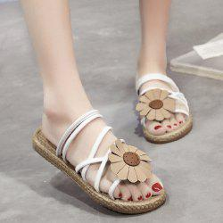 Cross Strap Flower Flat Heel Slippers