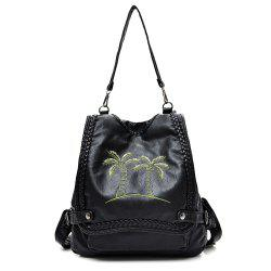 Braid PU Leather Embroidered Backpack
