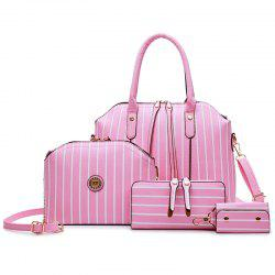 4 Pcs Striped Handbag Set - PINK