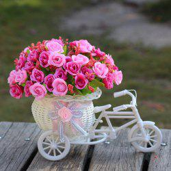 Home Living Room Decoration Artificial Flowers With Basket Bike