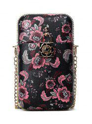 PU Leather Chain Floral Crossbody Bag