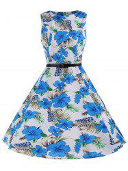 Printed Sleeveless A Line Dress