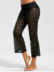 Crochet Wide Leg Boho Beach Pants - BLACK