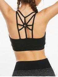 Sports Back Cutout Strappy  Padded Bra - BLACK