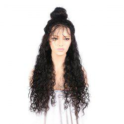 Free Part Long Kinky Curly Lace Front Synthetic Wig - BLACK