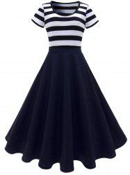 Stripe Midi Dress - DEEP BLUE