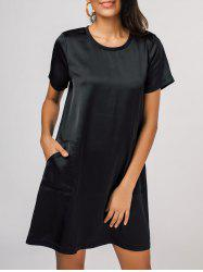 Round Neck Side Pockets T-Shirt Dress -