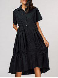 Pleated Short Sleeve Single-breasted Shirt Dress -