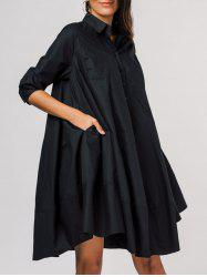 Side Pockets Trapeze Shirt Dress -