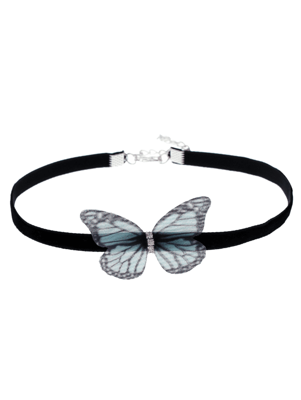 Butterfly Embellished Choker NecklaceJEWELRY<br><br>Color: BLACK; Item Type: Chokers Necklace; Gender: For Women; Style: Trendy; Shape/Pattern: Insect; Length: 30CM; Weight: 0.0300kg; Package Contents: 1 x Choker;