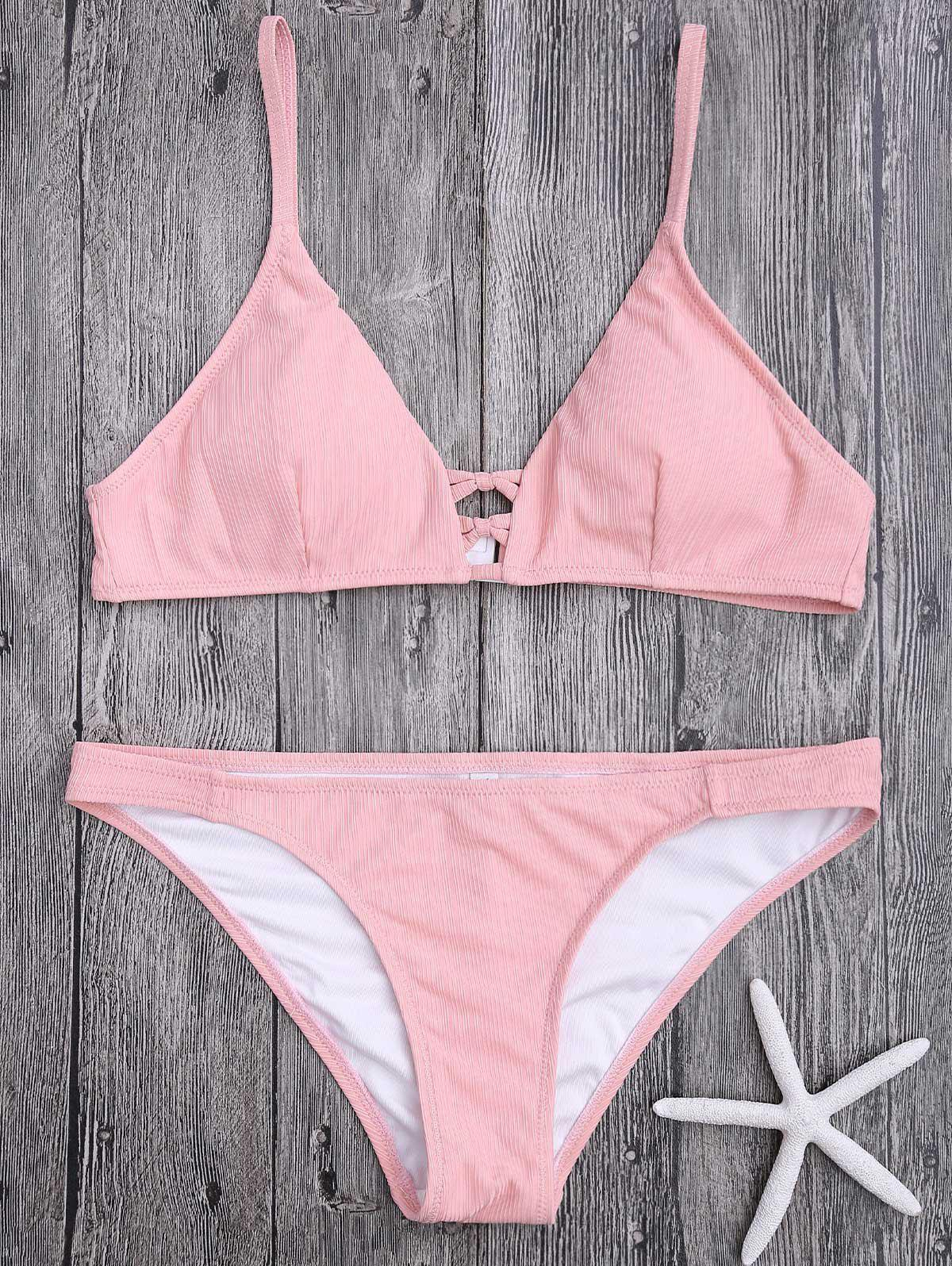 Criss Cross Cami Strap Texture Bikini SetWOMEN<br><br>Size: S; Color: PINK; Swimwear Type: Bikini; Gender: For Women; Material: Nylon,Spandex; Bra Style: Padded; Support Type: Wire Free; Neckline: Spaghetti Straps; Pattern Type: Solid Color; Embellishment: Criss-Cross; Waist: Natural; Elasticity: Elastic; Weight: 0.1500kg; Package Contents: 1 x Bra  1 x Briefs;