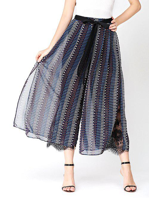 Chic Print Chiffon Wide Leg Pants with Lace Lining