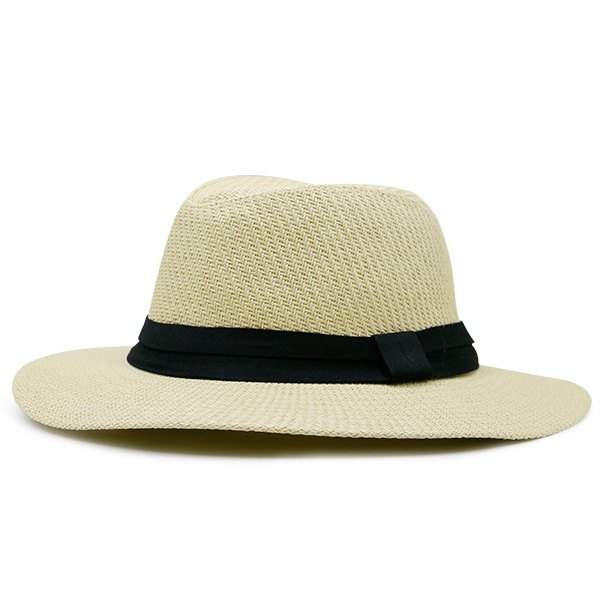 Affordable Ribbon Straw Woven Fedora Hat
