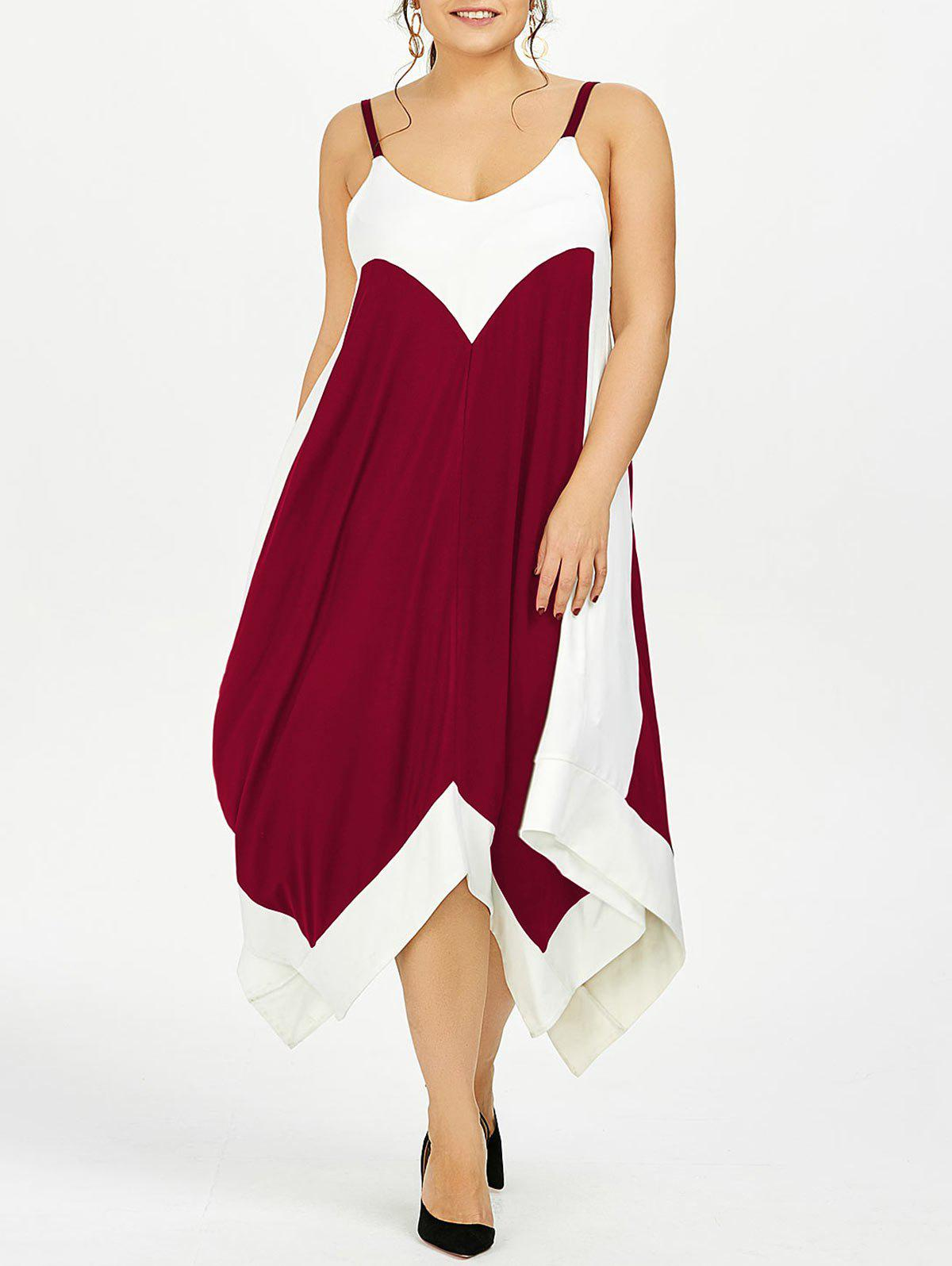 Plus Size Handkerchief Flowy Two Tone Slip DressWOMEN<br><br>Size: 4XL; Color: WINE RED; Style: Casual; Material: Polyester,Spandex; Silhouette: Asymmetrical; Dresses Length: Ankle-Length; Neckline: Spaghetti Strap; Sleeve Length: Sleeveless; Pattern Type: Solid; With Belt: No; Season: Summer; Weight: 0.4200kg; Package Contents: 1 x Dress;