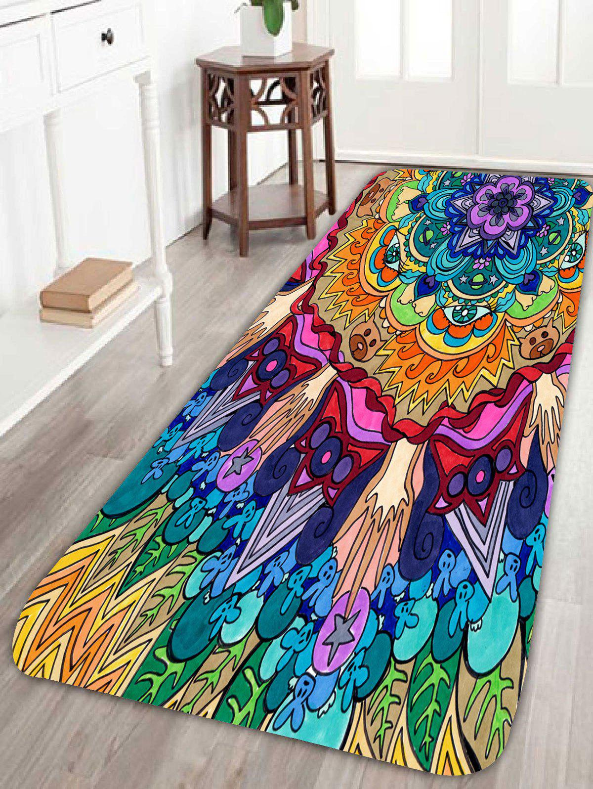 Bohemian Floral Pattern Skidproof Bath RugHOME<br><br>Size: W24 INCH * L71 INCH; Color: COLORFUL; Products Type: Bath rugs; Materials: Coral FLeece; Pattern: Floral; Style: Bohemian; Package Contents: 1 x Rug;