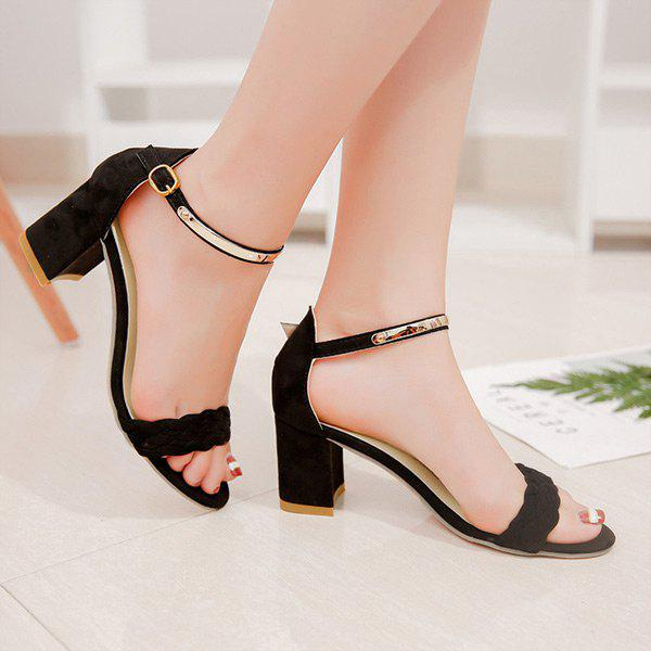 Ankle Strap Woven Block Heel SandalsSHOES &amp; BAGS<br><br>Size: 38; Color: BLACK; Gender: For Women; Sandals Style: Ankle Strap; Closure Type: Buckle Strap; Shoe Width: Medium(B/M); Pattern Type: Solid; Occasion: Casual; Upper Material: Flock; Style: Elegant; Weight: 1.3800kg; Heel Height Range: Med(1.75-2.75); Heel Height: 6.5CM; Heel Type: Chunky Heel; Package Contents: 1 x Sandals (pair);