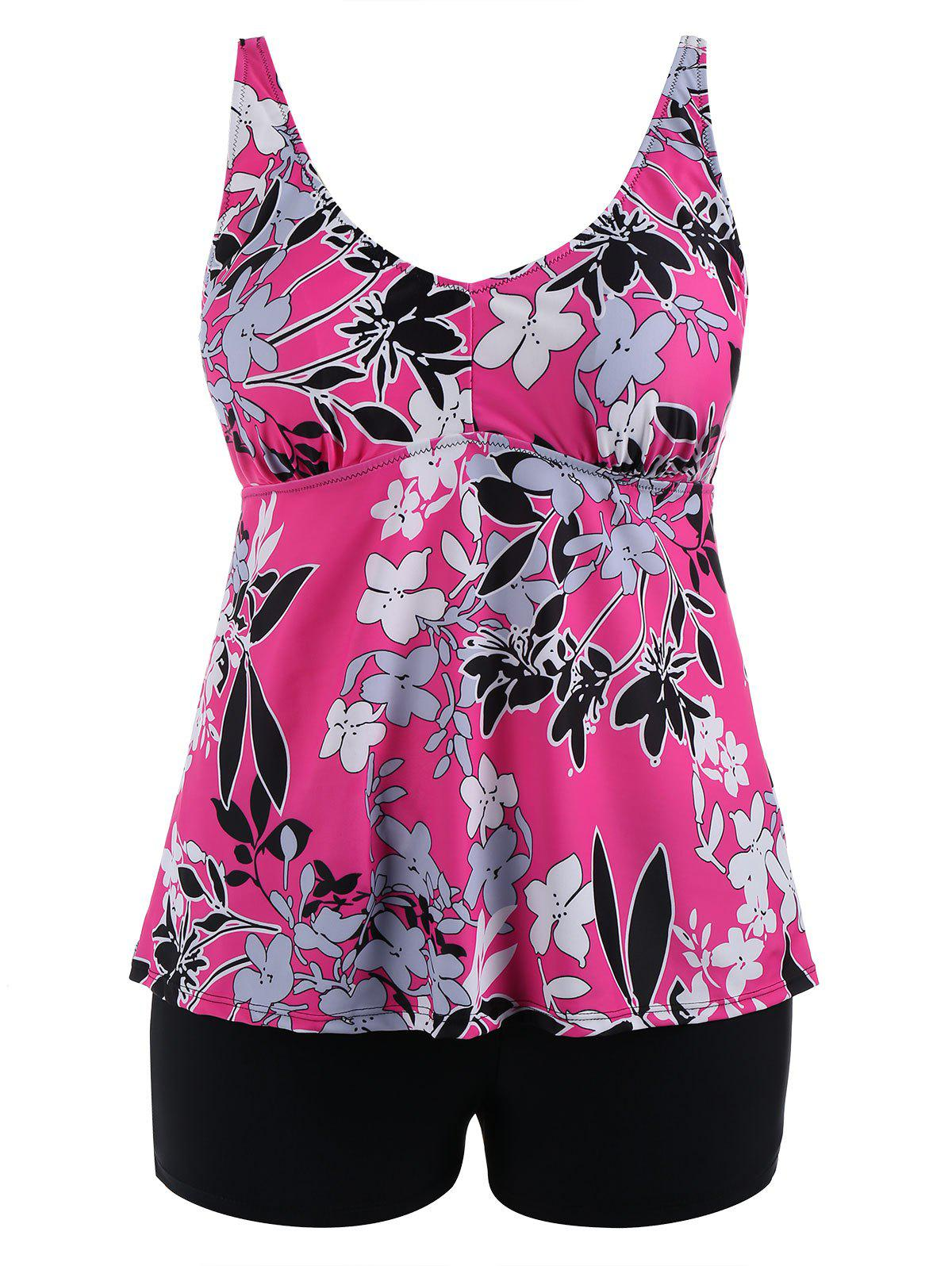 Discount Padded High Waisted Floral Plus Size Tankini Set