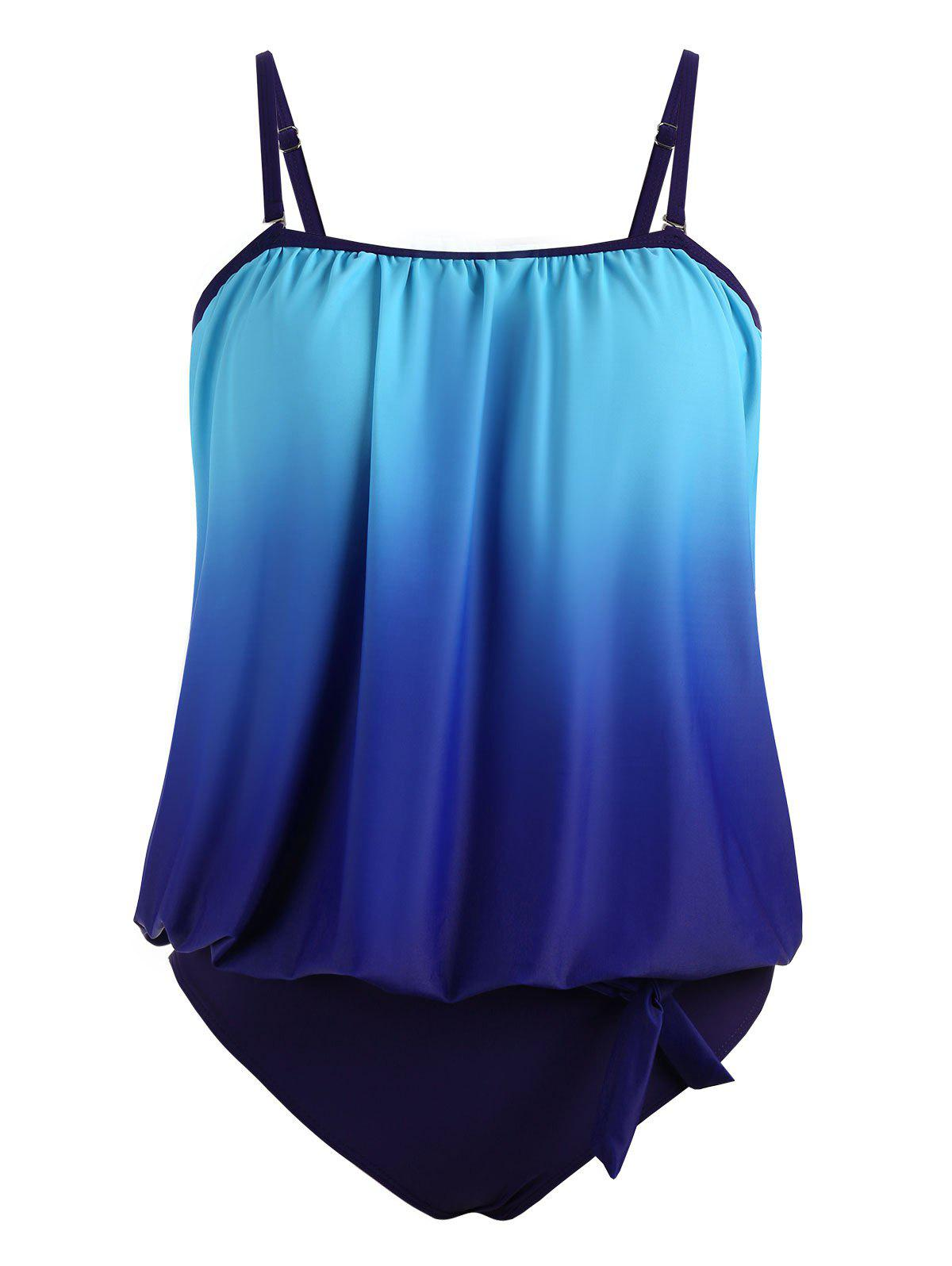 Padded Plus Size Ombre Blouson TankiniWOMEN<br><br>Size: 3XL; Color: BLUE; Gender: For Women; Swimwear Type: Tankini; Material: Polyester,Spandex; Bra Style: Padded; Support Type: Wire Free; Pattern Type: Ombre; Waist: Natural; Elasticity: Elastic; Weight: 0.3600kg; Package Contents: 1 x Tank Top  1 x Panty;