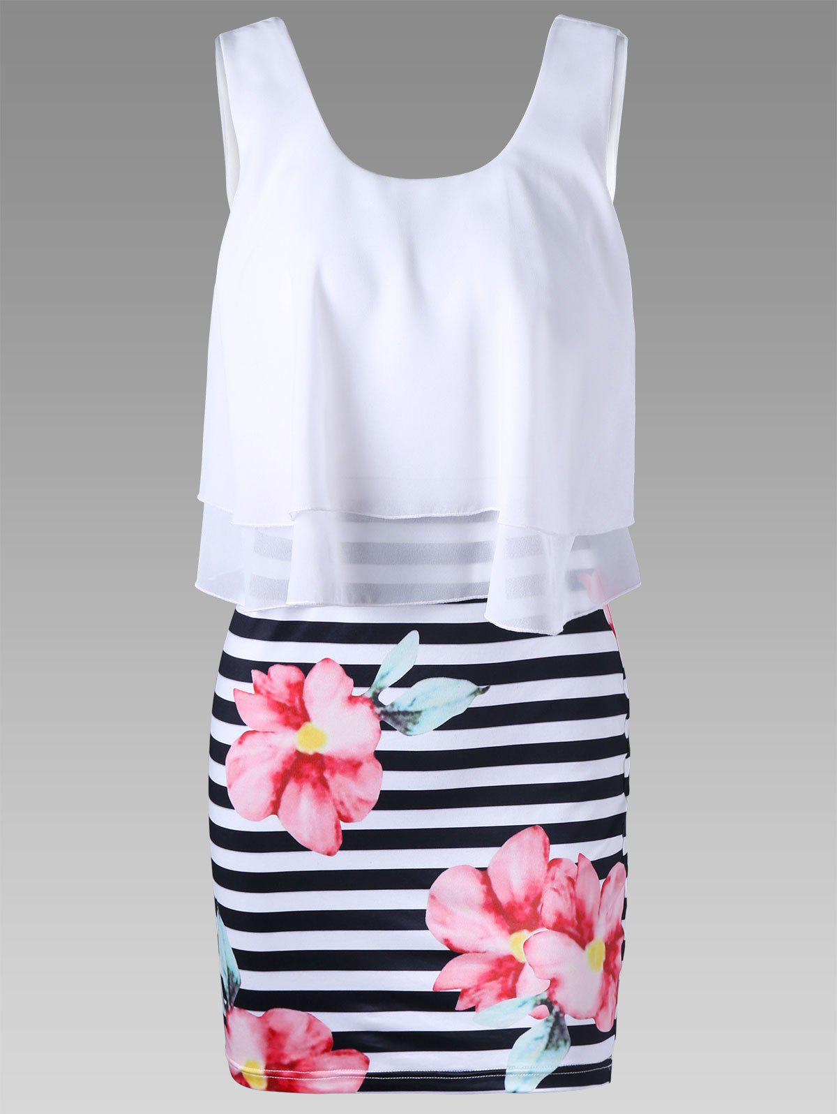 Floral with Striped Tight Popover DressWOMEN<br><br>Size: 2XL; Color: WHITE; Style: Casual; Material: Polyester,Spandex; Silhouette: Sheath; Dresses Length: Mini; Neckline: U Neck; Sleeve Length: Sleeveless; Pattern Type: Floral,Stripe; With Belt: No; Season: Summer; Weight: 0.2500kg; Package Contents: 1 x Dress; Occasion: Casual ,Semi Formal;