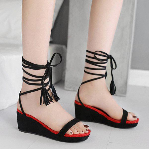 New Color Block Tie Up Wedge Heel Sandals