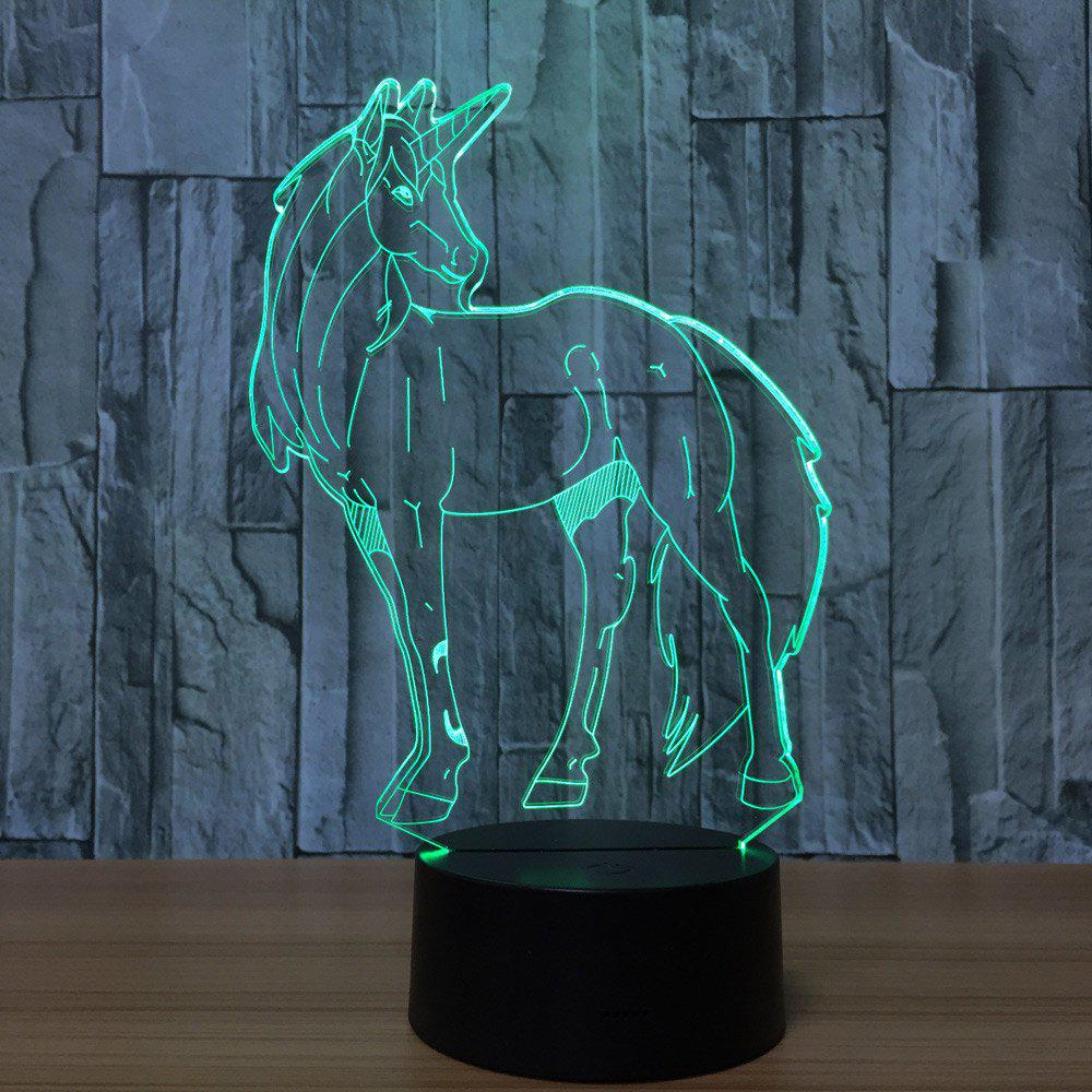3D Unicorn Shape Color Changing Decorative LED Night LightHOME<br><br>Color: TRANSPARENT; Products Type: Novelty Lighting; Materials: Acrylic,Plastic; Style: Novelty; Occasion: Bedroom,Birthday,Brithday Party,Home,Living Room; Weight: 0.3780kg; Package Contents: 1 x Acrylic Plate, 1 x Base;