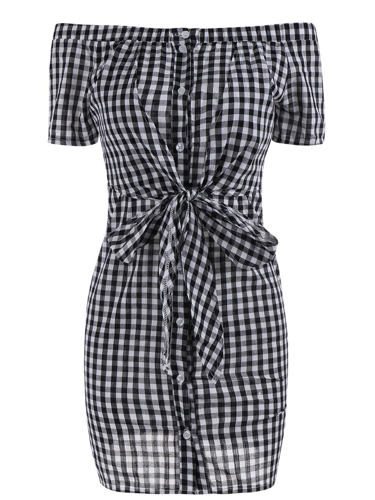 Fashion Plaid Off The Shoulder Bowknot Mini Dress