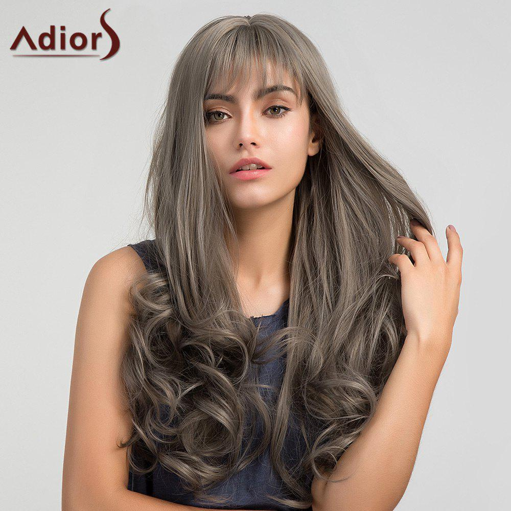 Adiors Long Neat Bang Shaggy Layered Wavy Synthetic WigHAIR<br><br>Color: GRAY; Type: Full Wigs; Cap Construction: Capless; Style: Wavy; Material: Synthetic Hair; Bang Type: Full; Length: Long; Length Size(CM): 60; Weight: 0.2890kg; Package Contents: 1 x Wig;