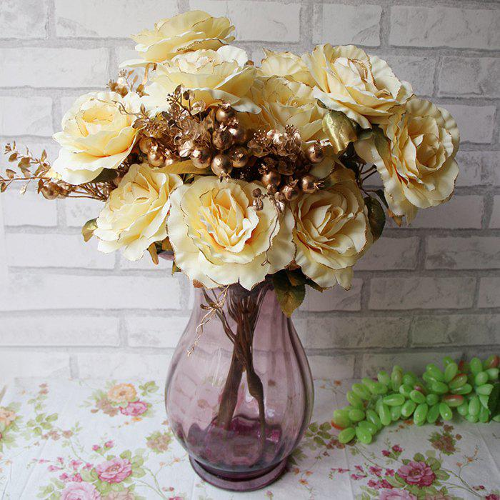 Home Living Room Party Decoration Vintage Artificial FlowersHOME<br><br>Color: YELLOW; Plant Type: Rose; Material: Iron Wire,Polyester; Included Product: Nothing; Height: 50cm; Weight: 0.3600kg; Package Contents: 1 x Artificial Flowers (Branch);
