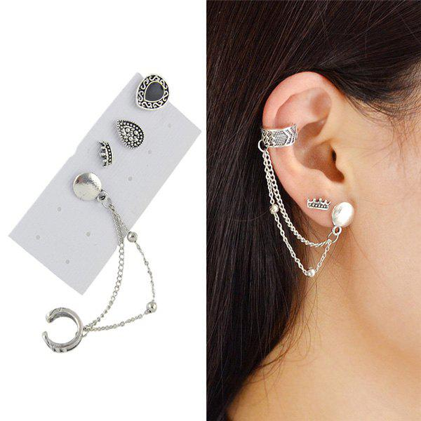Vintage Ear Cuff and Teardrop Stud Earring SetJEWELRY<br><br>Color: SILVER; Earring Type: Ear Cuff; Gender: For Women; Style: Trendy; Shape/Pattern: Water Drop; Weight: 0.0300kg; Package Contents: 1 x Earring (Suit);