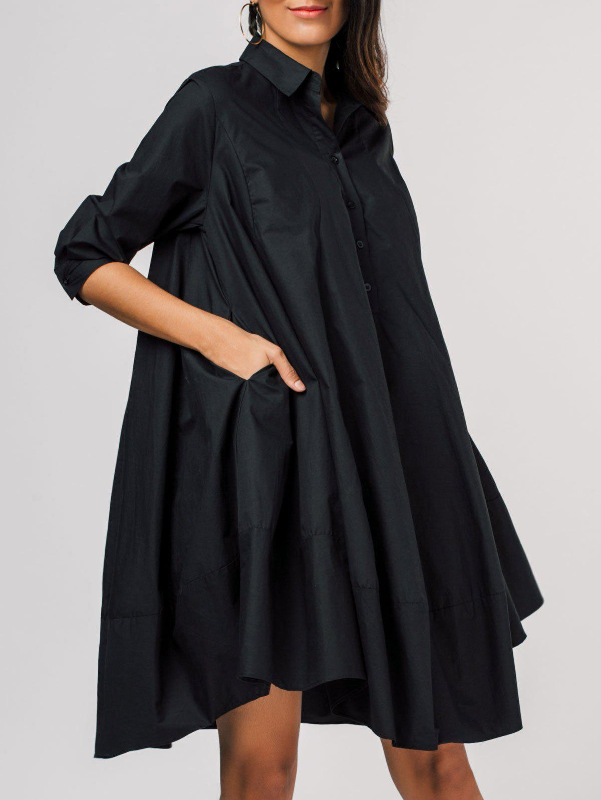 Best Side Pockets Trapeze Shirt Dress