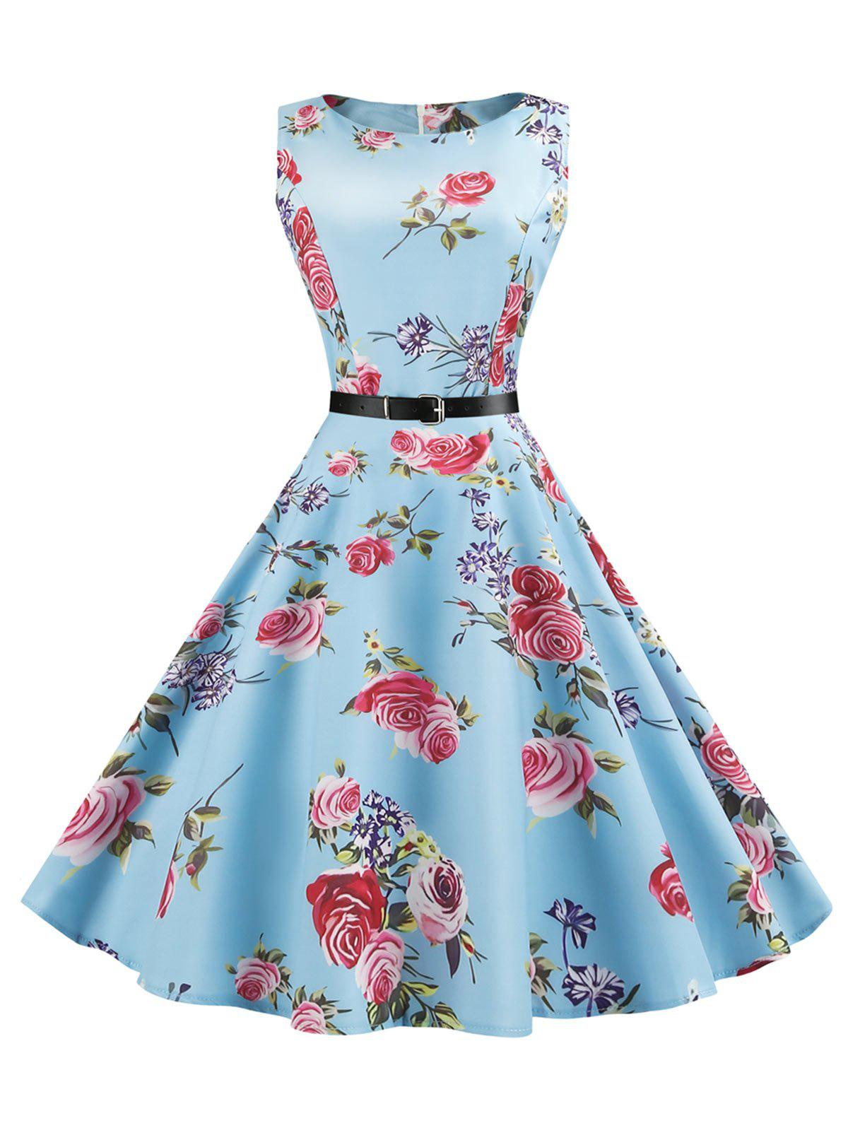 Vintage Sleeveless Floral Belt DressWOMEN<br><br>Size: 2XL; Color: WINDSOR BLUE; Style: Vintage; Material: Cotton,Polyester; Silhouette: A-Line; Dress Type: Swing Dress; Dresses Length: Mid-Calf; Neckline: Round Collar; Sleeve Length: Sleeveless; Pattern Type: Floral; With Belt: Yes; Season: Summer; Weight: 0.4500kg; Package Contents: 1 x Dress 1 x Belt;