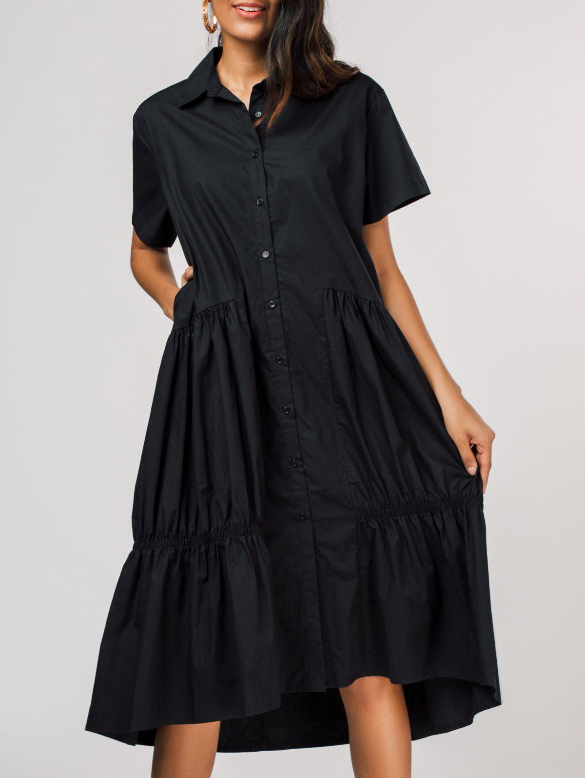 Chic Pleated Short Sleeve Single-breasted Shirt Dress