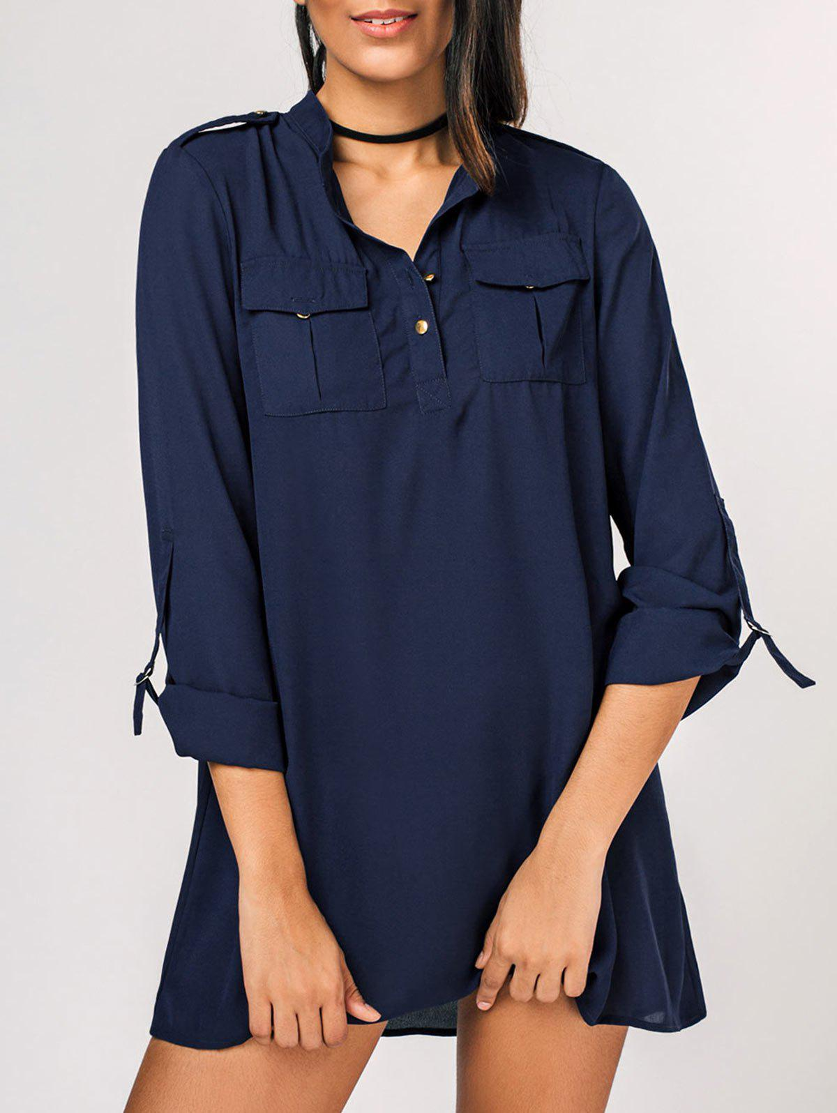 Affordable Half Buttoned Casual Shirt Mini Dress