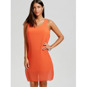 Bowknot Chiffon Tank Dress - Orange M