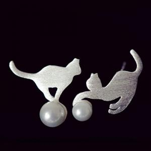 Faux Pearl Cute Kitten Stud Earrings