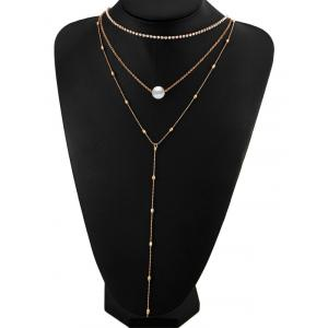 Faux Pearl Rhinestone Layered Necklace