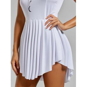 Asymmetrical Sleeveless Pleated Dress - WHITE S