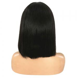 Short Middle Part Glossy Straight Bob Lace Front Synthetic Wig - BLACK 12INCH