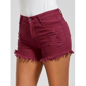 Skinny Ripped Denim Frayed Hem Shorts - Wine Red - S